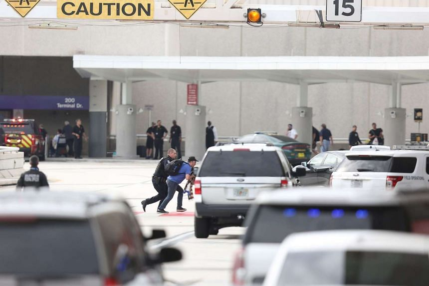 First responders securing the area outside of Fort Lauderdale-Hollywood International airport after a shooting took place near the baggage claim on Jan 6, 2017, in Fort Lauderdale, Florida.