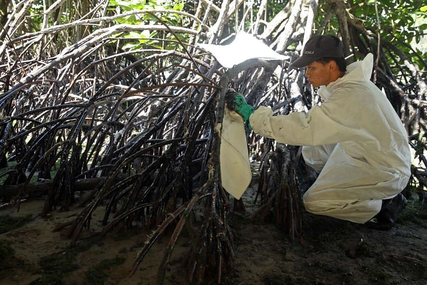 Student Abel Yeo, 23, was one of 15 volunteers at the Chek Jawa oil spill clean-up on Jan 7, 2017.