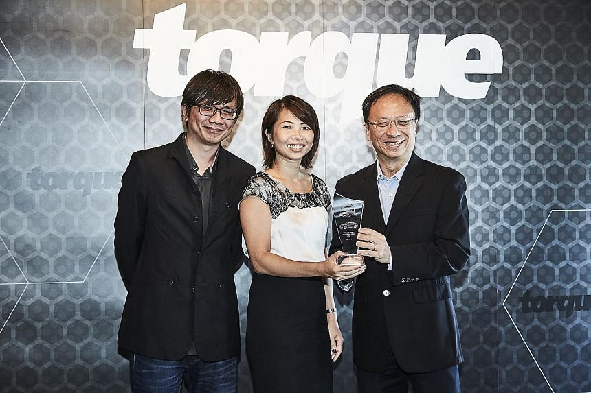 Ms Sabrina Sng, general manager of Volvo, Wearnes Automotive, flanked by Torque editor David Ting (left) and Straits Times senior correspondent and Torque consulting editor Christopher Tan.