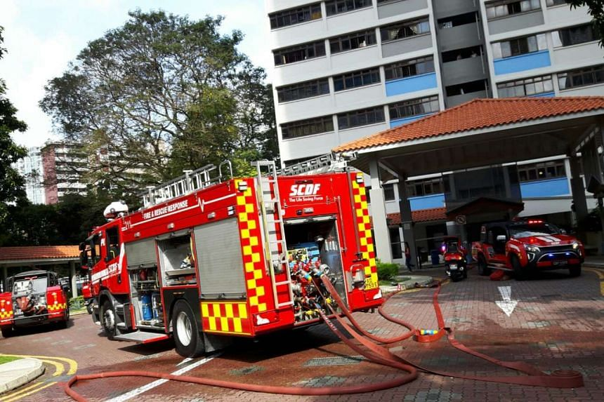 Singapore Civil Defence Force firefighters put out a fire at Geylang Bahru on Jan 8, 2017.
