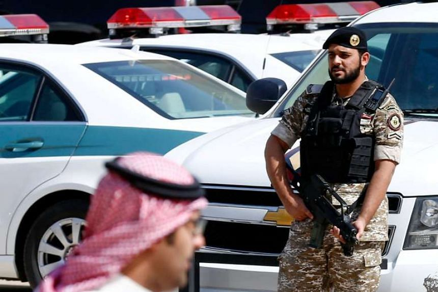 A member of Saudi Security forces stands guard during a meeting between Turkish Foreign Minister Mevlut Cavusoglu and Foreign Ministers of Gulf Cooperation Council in Riyadh, Saudi Arabia, on Oct 13, 2016.