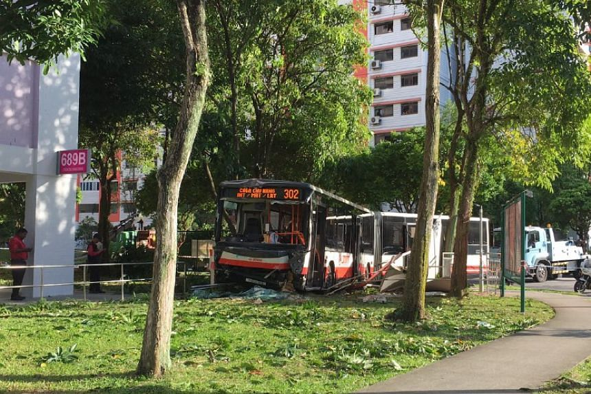 A bus and a car were involved in an accident at Block 689B Choa Chu Kang Drive on Jan 8, 2017.