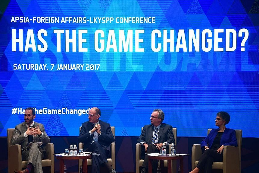 (From far left) Panel moderator Jonathan Tepperman, Mr Enrico Letta, Mr James Goldgeier and Ms Susan Collins during yesterday's discussion.