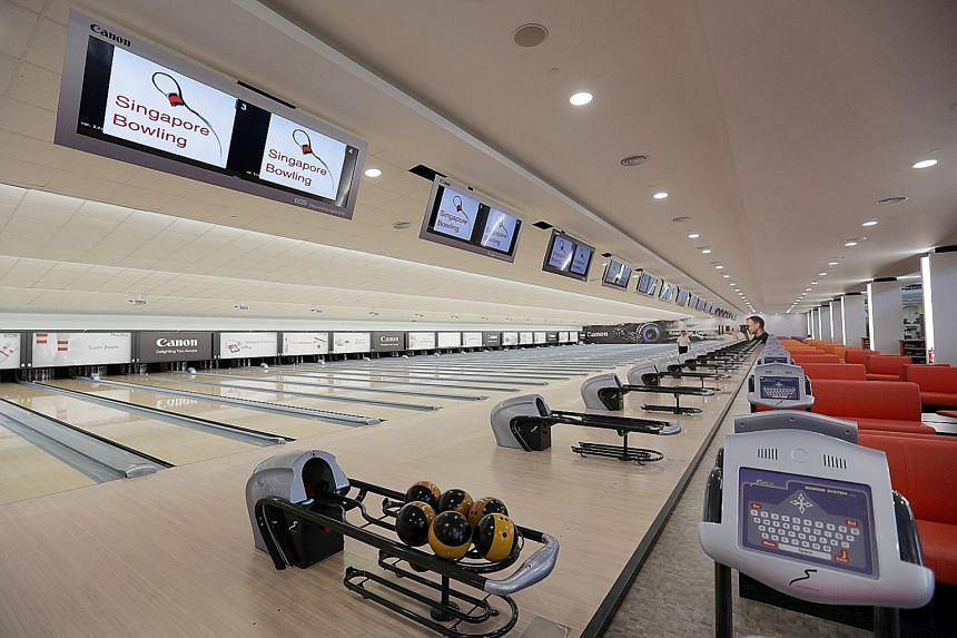 Above: The 38-lane bowling alley at Temasek Club is where the national team train.