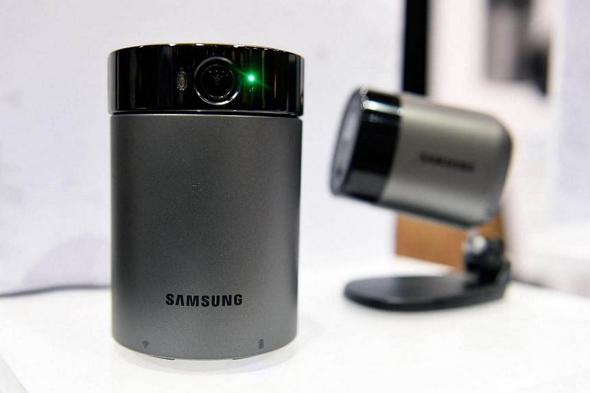 Samsung Wisenet wireless cameras are displayed during a press event for CES 2017 at the Mandalay Bay Convention Center on Jan 3, 2017 in Las Vegas, Nevada.