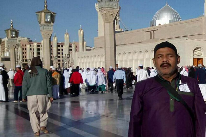 Mr Abdul Ghafur Mohd Ibrahim, a Singapore Permanent Resident, posing for picture during his minor pilgrimage in Mecca, Saudi Arabia.