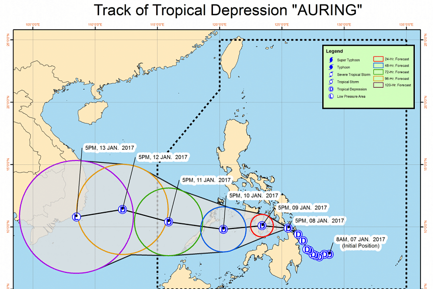 "A tropical storm, locally named ""Auring"", hit the Philippines' Siargao island on Jan 8, 2017."