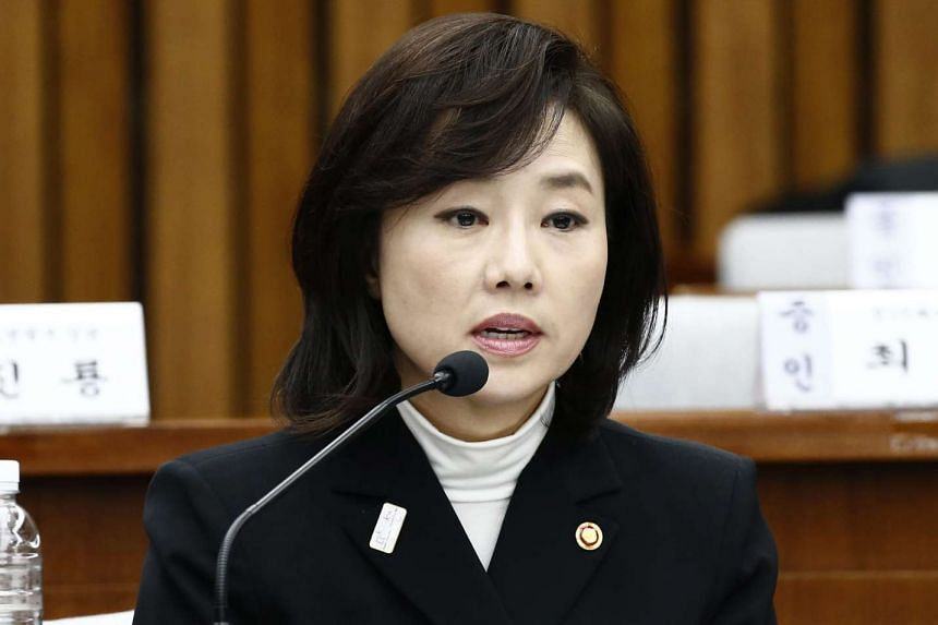 Cho Yoon Sun, minister of Culture, Sports and Tourism, answers questions during a parliamentary hearing on the influence-peddling at the National Assembly in Seoul, South Korea, Jan 9, 2017.