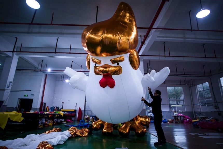 Image of: Meme China Factory Hatches Giant Trump Chickens To Usher In Year Of The Rooster The Straits Times China Factory Hatches Giant Trump Chickens To Usher In Year Of The