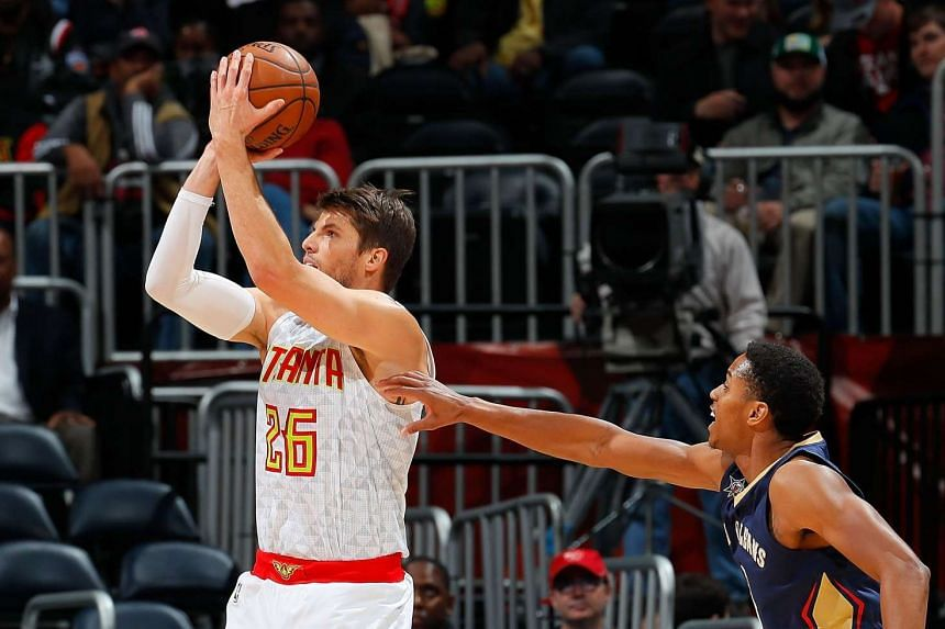The 2m-tall, 96kg Kyle Korver (in white) played 32 games for the Hawks this season, with averages of 9.5 points, 2.8 rebounds and 2.3 assists in 27.9 minutes.