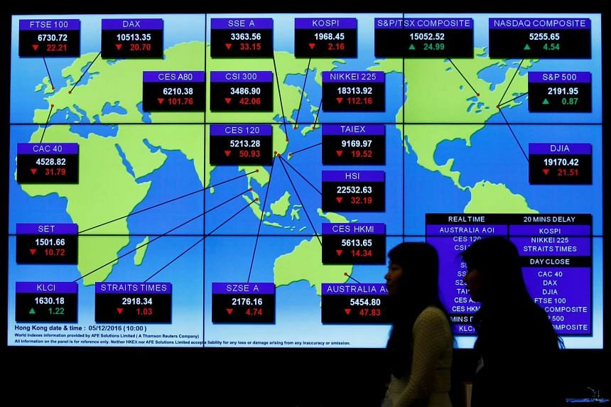 A panel displays global stock indexes at the Hong Kong Exchanges in Hong Kong, China on Dec 5, 2016.