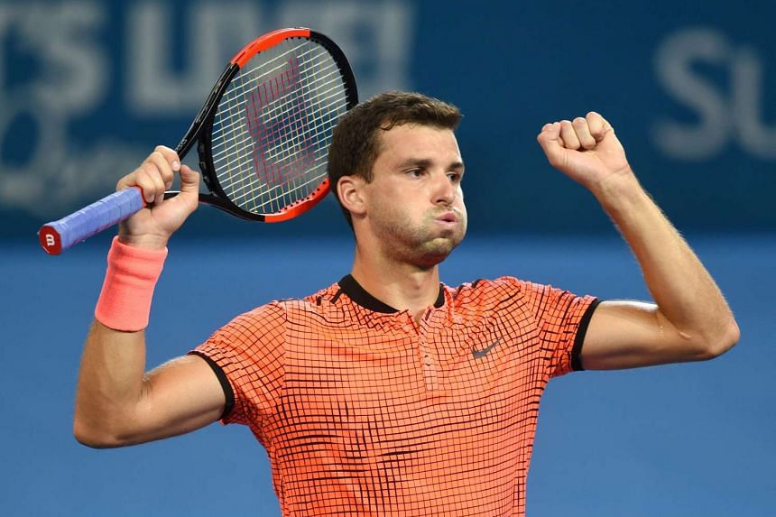 Grigor Dimitrov reacting during the Men's singles final against Kei Nishikori. The win was his first in four attempts against world No. 5 Nishikori.