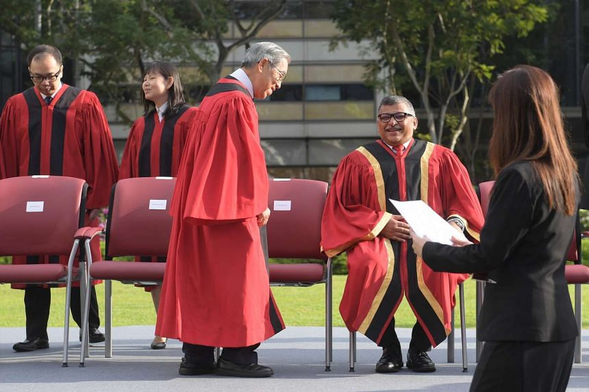 Chao Hick Tin takes his seat next to Chief Justice during the opening of the Legal Year 2017.