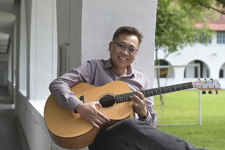 Singer- songwriter Lam Peng Er (above), 57, says he is just beginning his musical childhood.