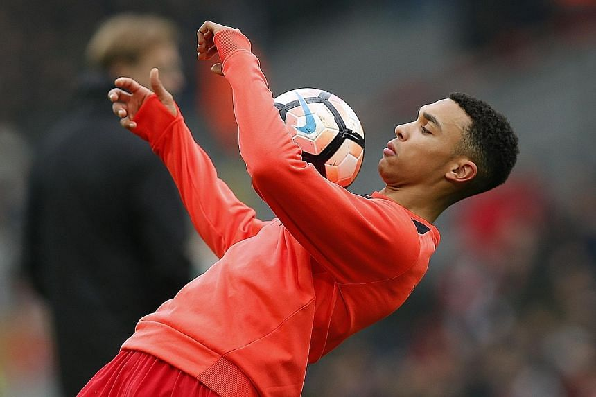 Trent Alexander-Arnold, 18, has benefited from Liverpool manager Jurgen Klopp's policy of giving young players minutes on the pitch.