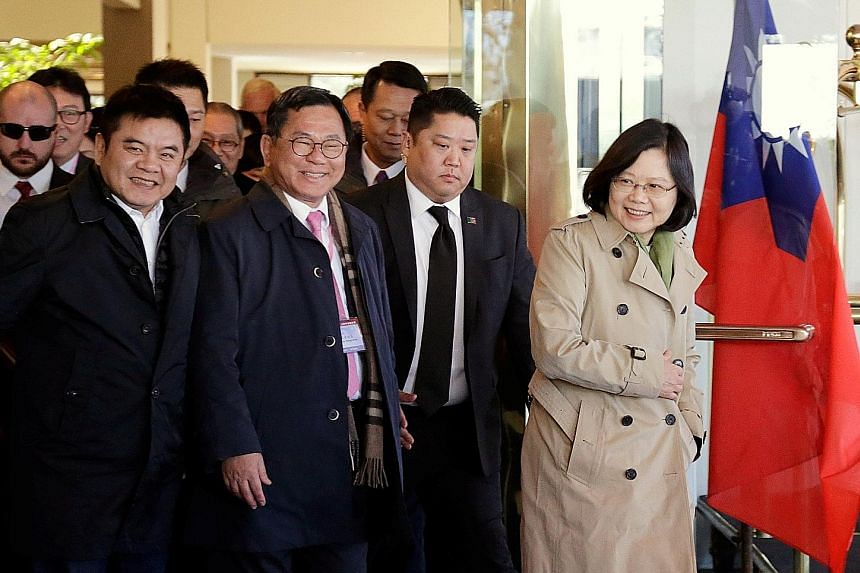 Ms Tsai leaving the Omni Houston Hotel during her transit stop. She is scheduled to stay in Houston for a night after a dinner in her honour. Beijing had urged Washington to prevent her from landing in the US.