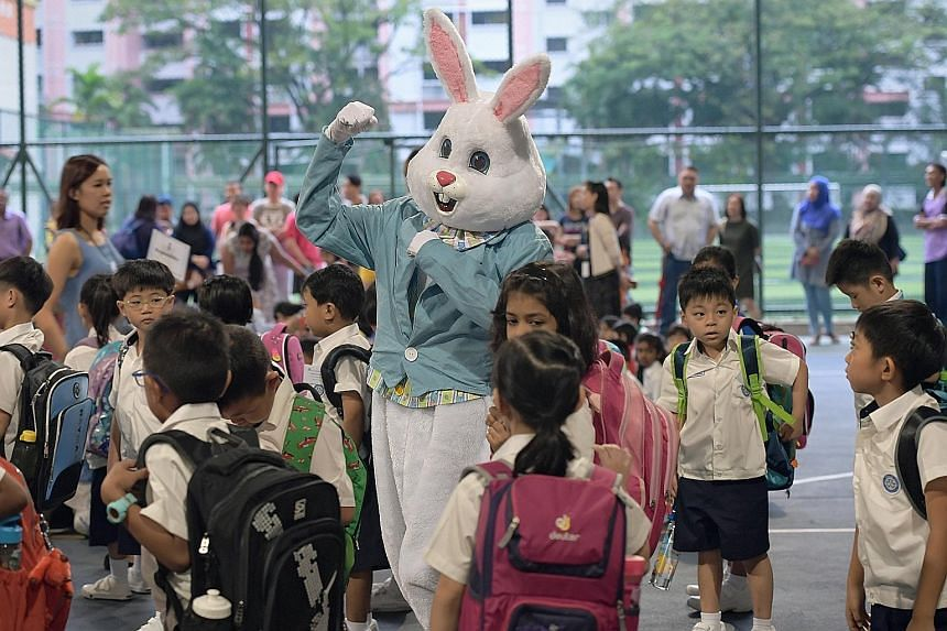 A cotton-tailed pal encouraging Primary 1 pupils at Unity Primary before they head off to class. Last week, about 37,500 Primary 1 pupils in 190 schools attended the first day of school.