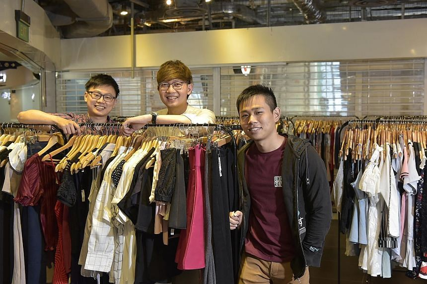 (From left) Refash co-founders Shawn Cheo, Aloysius Sng and Stephen Chong want to encourage sustainable shopping.