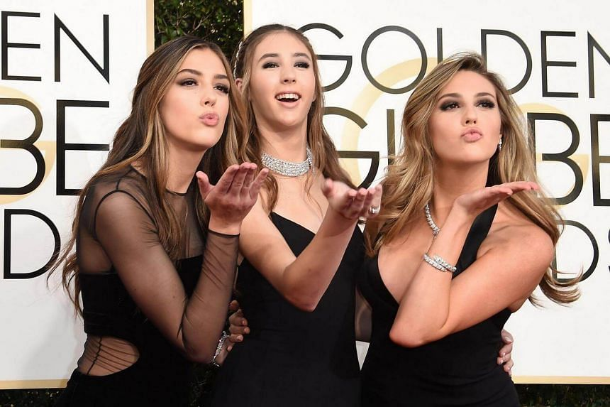 (From left) Sistine Stallone, Scarlet Stallone and Sophia Stallone arriving at the 74th annual Golden Globe Awards, on Jan 8, 2017, at the Beverly Hilton Hotel in Beverly Hills, California.