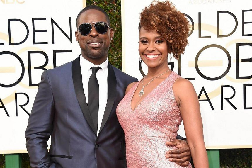 Actor Sterling K. Brown (left) and Ryan Michelle Bathe arriving at the 74th annual Golden Globe Awards, on Jan 8, 2017, at the Beverly Hilton Hotel in Beverly Hills, California.