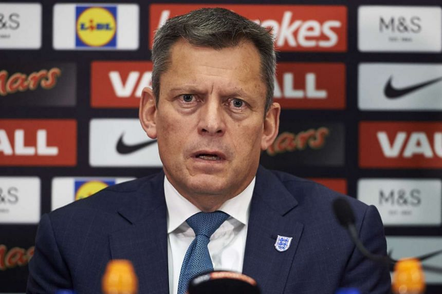England's Football Association chief executive Martin Glenn takes part in a press conference at Wembley Stadium in London.