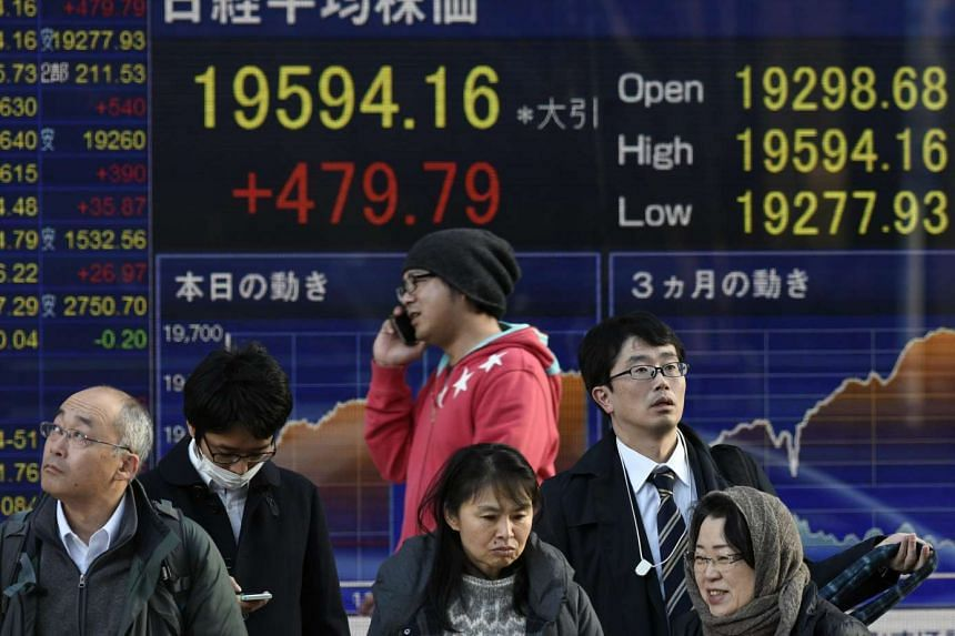 Japanese equities fell on their first day of trading this week, tracking losses in the US where the S&P 500 Index dropped from a record high.