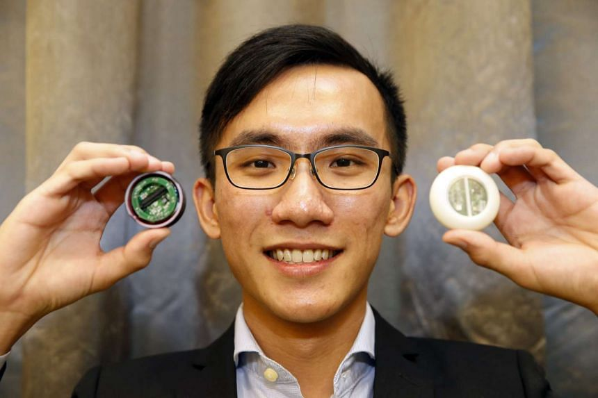 Mr Ching Tsz Him, one of the students who also designed the Fuga Digital Chest Drain Device,  with Bward Real-time Blood Sensing and Wound monitoring Device.