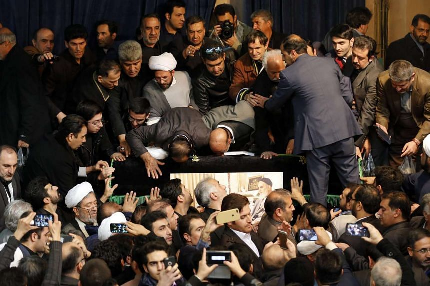 Mourners gathering around the coffin of former Iranian President Akbar Hashemi Rafsanjai during a mourning ceremony at the Jamaran mosque in Teheran, Iran, on Jan 9, 2017.