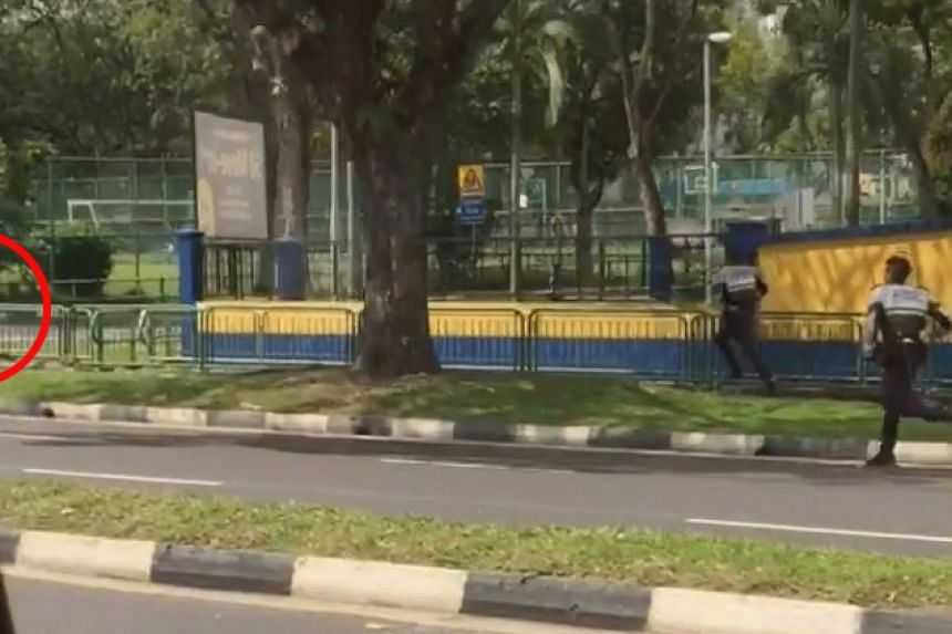 A man allegedly ran from the police after driving into the back of a lorry in Woodlands on Monday.