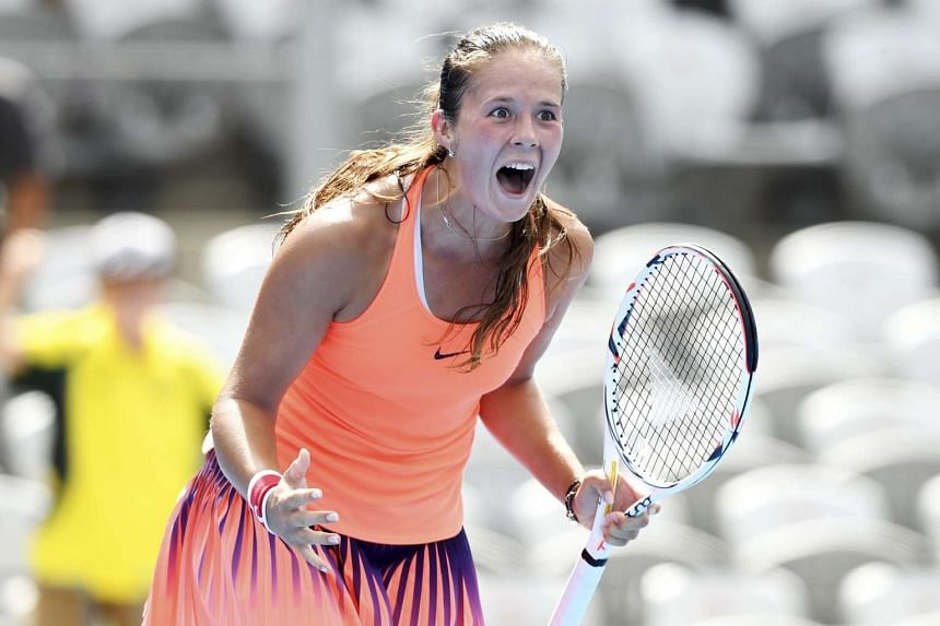 19-year-old Daria Kasatkina (above) scored an upset 7-6 (7-5), 6-2 win over world No. 1 Angelique Kerber in the second round of the Sydney International on Jan 10, 2017.
