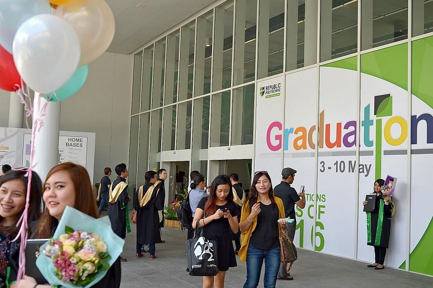 Last year's poly grads, some from Republic Polytechnic seen here on graduation day last year, had better employment rates and salaries as compared with poly grads from the year before, according to the findngs of the annual graduate employment survey