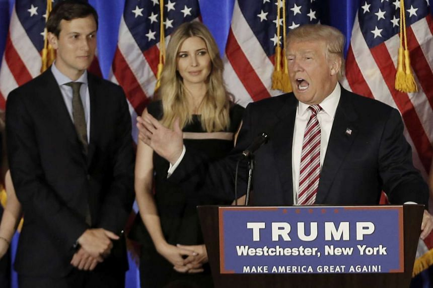 Mr Donald Trump speaks as his son-in-law Jared Kushner and his daughter Ivanka listen at a campaign event at the Trump National Golf Club Westchester in New York on June 7, 2016.