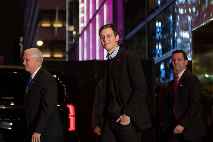 Left to right, Vice President-elect Mike Pence and Jared Kushner  exit Trump Tower on Dec 7, 2016.