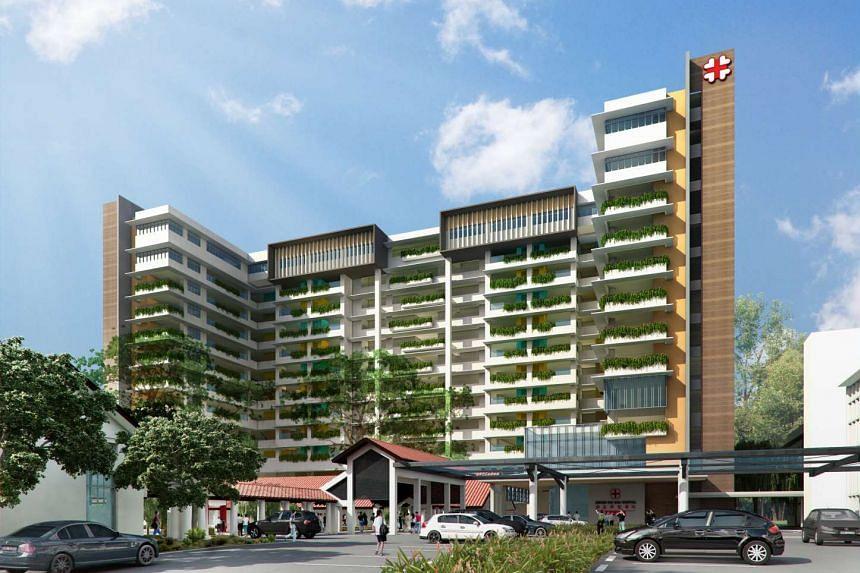 An artist's impression of the new 12-storey Kwong Wai Shiu Hospital in Serangoon Road.