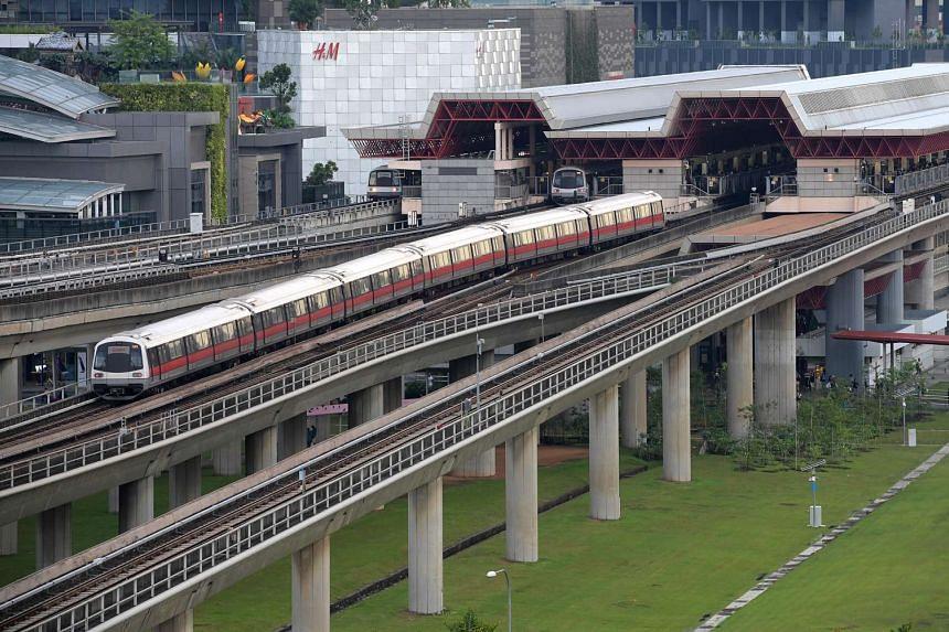 SMRT trains at Jurong East station.