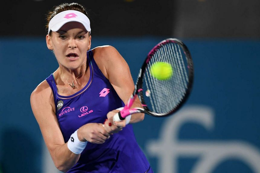 Agnieszka Radwanska of Poland in action against Christina McHale of the US during their second round match at the Sydney International Tennis Tournament, on Jan 10, 2017.