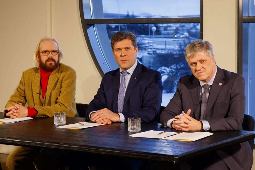 (From left) Mr Ottarr Proppe, leader of Bright Future, Mr Bjarni Benediktsson, leader of The Independence Party, and Mr Benedikt Johannesson, leader of the Reform party, introducing an agreement on a new coalition government at a press conference in