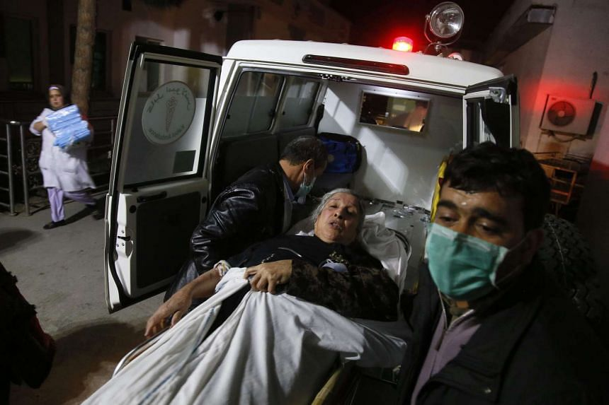 A victim being moved to a hospital after twin bombings near the Afghan Parliament building in Kabul on Jan 10, 2017.