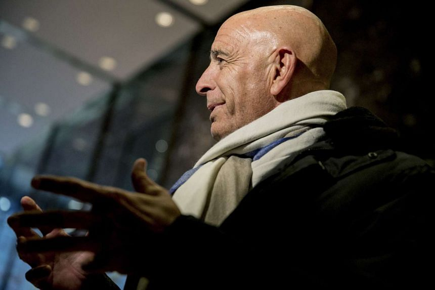 Tom Barrack, chairman of President-elect Donald Trump's inaugural committee, talks to reporters in the lobby of Trump Tower on Fifth Avenue in New York on Jan 10, 2017.
