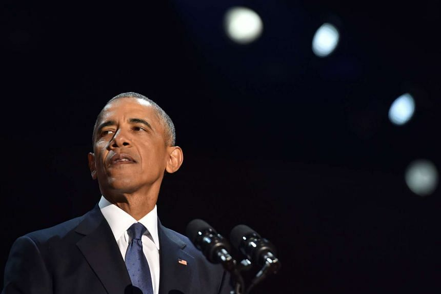 US President Barack Obama speaks during his farewell address in Chicago, Illinois on Jan 10, 2017.