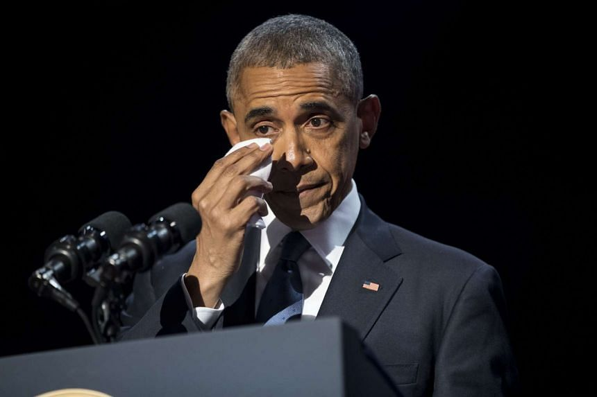 President Barack Obama wipes away tears as he delivers his farewell address at McCormick Place in Chicago on Jan 10, 2017.