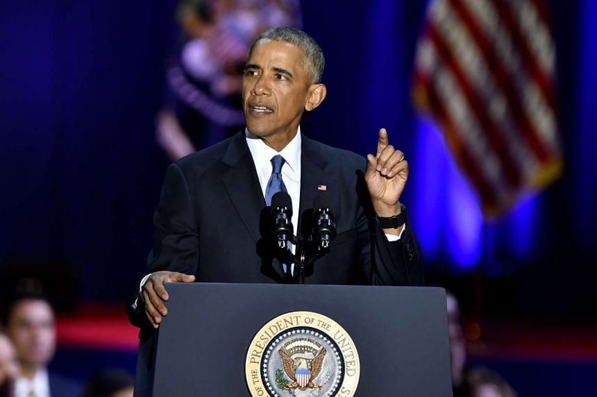 US President Barack Obama gestures during his farewell address in Chicago, Illinois on Jan 10, 2017.