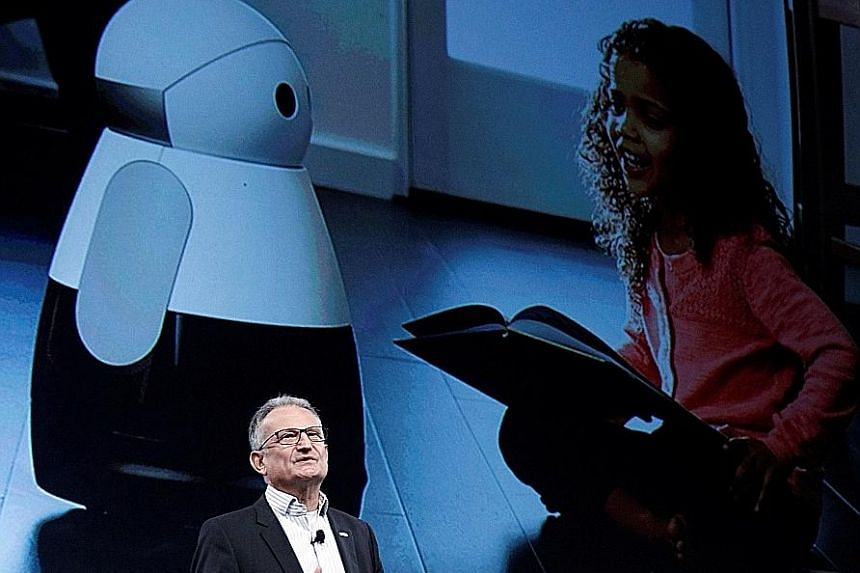 Dr Struth introducing the Kuri robot by Mayfield Robotics during a Bosch news conference at CES 2017.