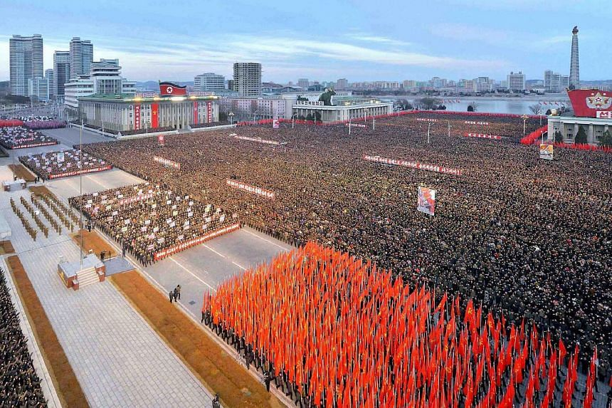 A mass rally taking place at Kim Il Sung Square in Pyongyang on Jan 5, 2017.