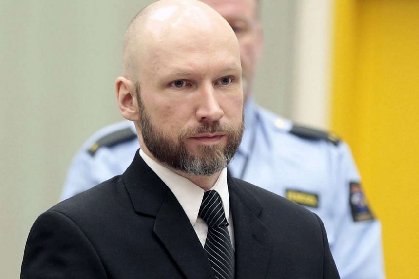 Anders Behring Breivik attending an appeal hearing at the Borgarting Court of Appeal at Telemark prison in Skien, Norway, on Jan 10, 2017.