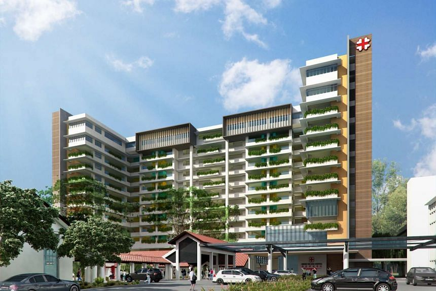 An artist's impression of the new 12-storey Kwong Wai Shiu Hospital in Serangoon Road. It will undergo a $96 million transformation to become an integrated hub for the elderly and the community by 2017 with a bigger nursing home and senior care centr