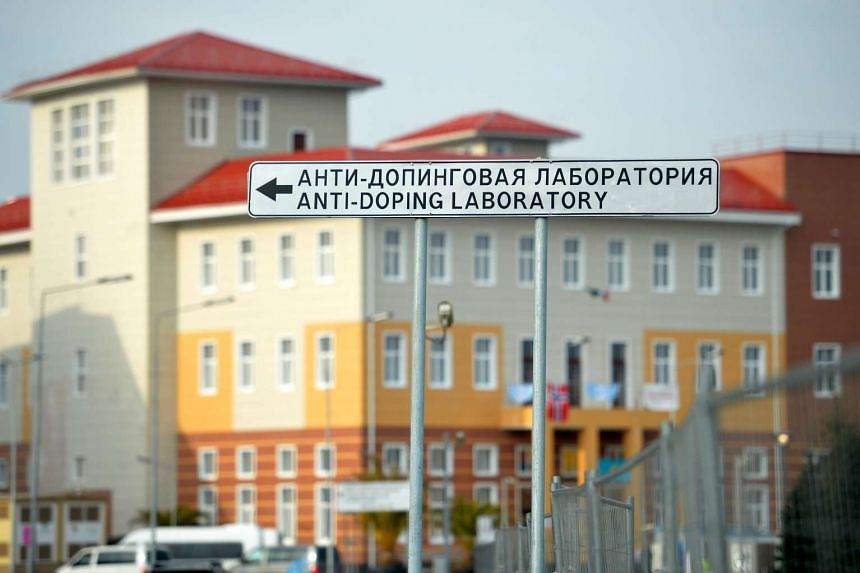 File photo taken on Feb 21, 2014, at the Olympic Park in Sochi showing a sign with directions to the anti-doping laboratory of the 2014 Winter Olympic Games. Russia has been stripped of the right to host the bobsleigh world championships in Sochi in