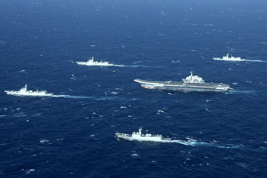 A Chinese navy formation doing drills in the South China Sea on Jan 2, 2017.