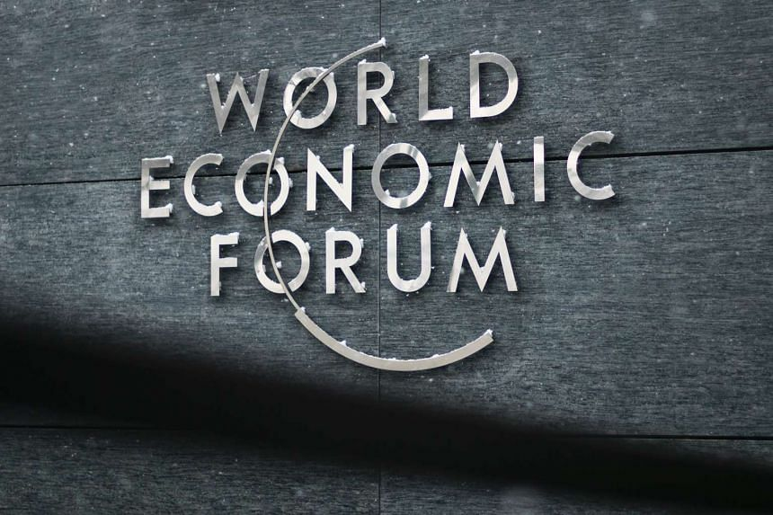A sign of the World Economic Forum (WEF) at its headquarters in Cologny near Geneva.