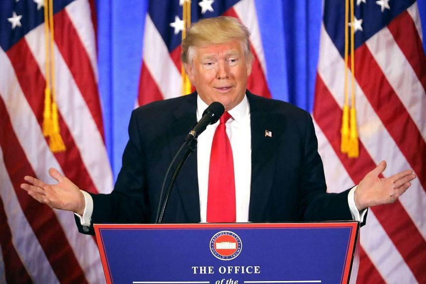 President-elect Donald Trump speaks at a news cenference at Trump Tower on Jan 11, 2017 in New York City.